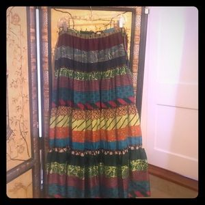 Silk Multi colored flow floorlength skirt